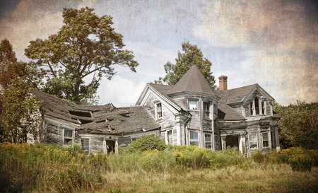 renovation property: Abandoned, falling down house. Textured to look like an old photograph.