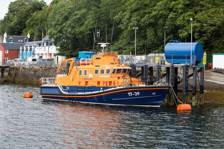 isle: ISLE OF MULL, SCOTLAND - JULY 31st 2015: Lifeboat in Tobermory Harbour, Isle of Mull, Scottish Highlands.