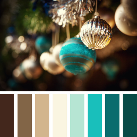 complimentary: Vintage style Christmas decorations of glass baubles and tinsel. In a colour palette with complimentary colour swatches.