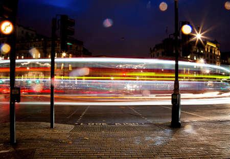 night traffic: Night traffic around Trafalgar Square, London, UK
