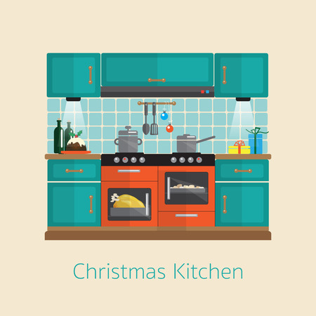 Cooking Christmas dinner. Flat style kitchen design during the festive season. ESP10 vector format