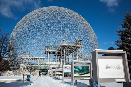 montreal: MONTREAL, CANADA - JANUARY 16th 2015: The Biosphere Museum, dedicated to environmental issues, is located in Parc Jean-Drapeau, and was designed by Buckminster Fuller. Editorial