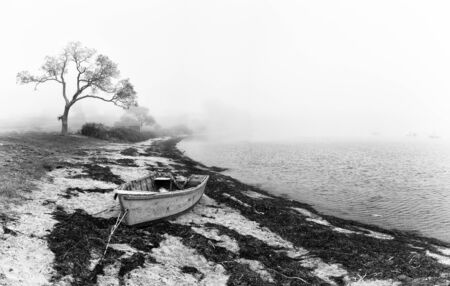 An abandonded fishing boat left on the beach. Black and white coastal scene with silhouetted tree and old boat. Bailey Island, Maine, USA