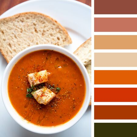 complimentary: A bowl of fresh tomato soup, garnished with oil, herbs and croutons, and served with wholemeal bread. In a colour palette with complimentary colour swatches. Stock Photo