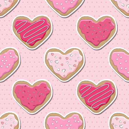 sugar cookie: Heart shaped cookies, decorated for Valentines Day, over a pink polka dot seamless background. EPS10 vector format