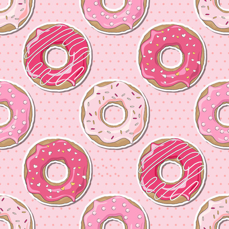 donut: Pink donuts, decorated for Valentines Day, over a pink polka dot seamless background.
