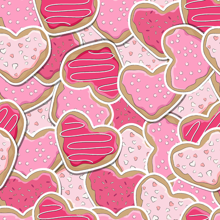 Heart shaped cookies, decorated for Valentine's Day, seamless background. 向量圖像
