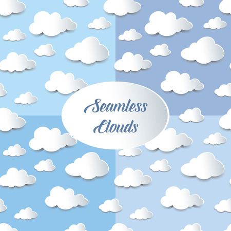 fluffy clouds: Set of four seamless background of fluffy clouds, paper cutout with shadow effect.