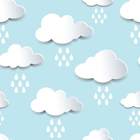 fluffy clouds: Seamless background of fluffy rain clouds, paper cutout with shadow effect. Illustration