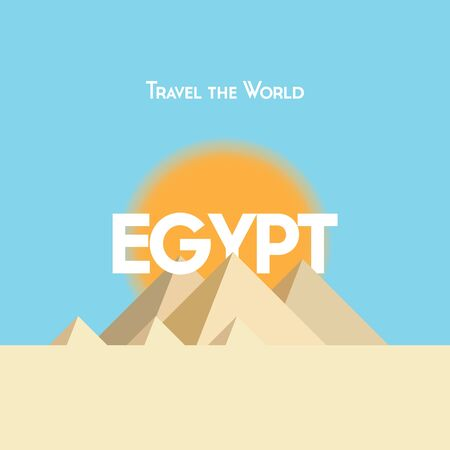 pyramid of the sun: Flat style travel poster on Egyptian theme, showing pyramids, sunshine and sand. EPS10 vector format