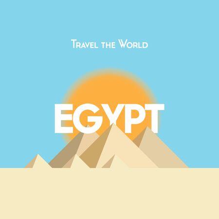 plano del cartel estilo de viaje en el tema egipcio, mostrando pirámides, sol y arena. EPS10 formato vectorial