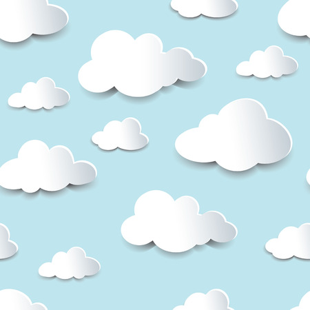 Seamless background of fluffy clouds, paper cutout with shadow effect.