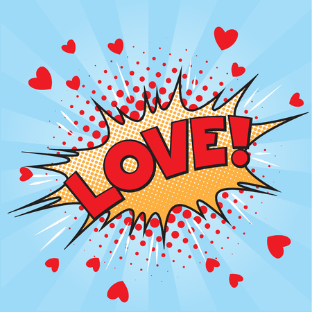 love blast: Valentine style pop art icon LOVE, exploding over pink background. Comic speech bubble in red, blue, yellow, white and black.