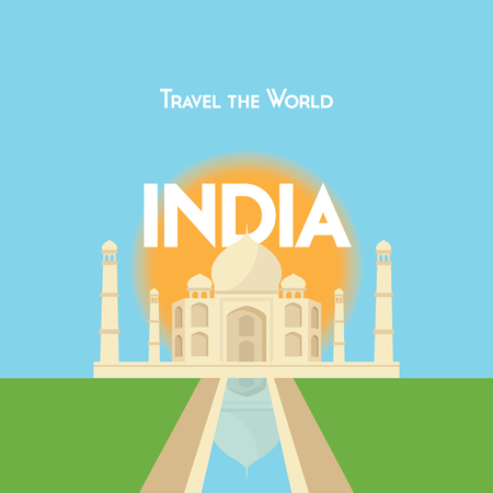 mahal: Flat style travel poster - India theme, showing the Taj Mahal with the sun behind.  vector format