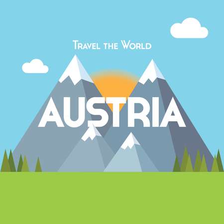 sun rising: Flat style travel poster - Austria theme, showing snow-capped mountains, pine forests and green meadows, with the sun rising behind. EPS10 vector format Illustration