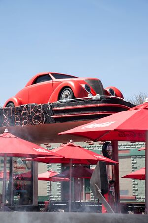 car grill: WILLIAMS, ARIZONA - April 19th 2012: Smoke rises from the BBQ at an American diner on the historic Route 66 Editorial