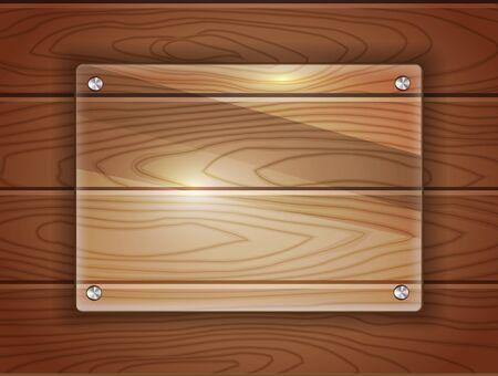 暗い木製の背景に現実的なガラス プラーク。あなたのテキストのためのスペース。 ベクトル形式です。