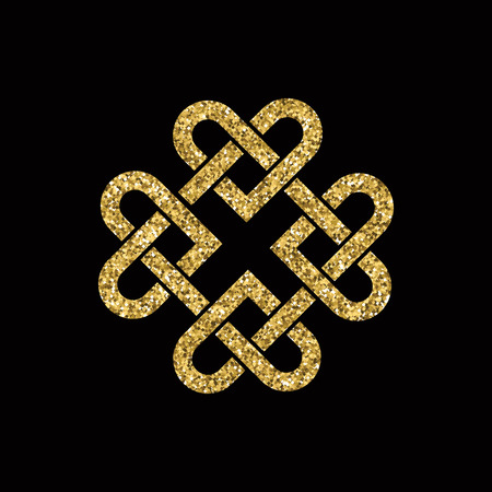 woven: Celtic knot made from interlocking hearts. Gold glitter on black background.  vector format.