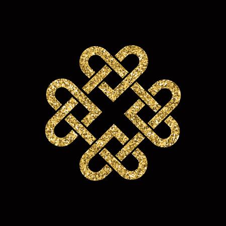 nudos: nudo celta hecho de corazones entrelazados. brillo del oro en fondo negro. formato vectorial. Vectores
