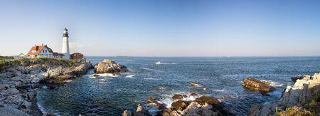 coastlines: A panorama of the Portland Head lighthouse and rugged coastline, Maine, USA