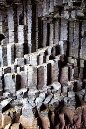 basalt: Basalt columns detail, Fingals Cave, Staffa Island, Scotland.