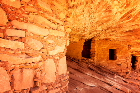 anasazi: The 800 year old Anasazi ruins of Mule Canyon, known as The House of Fire, because when the sun hits the rock, it appears to glow as if on fire. Cedar Mesa, Utah, USA