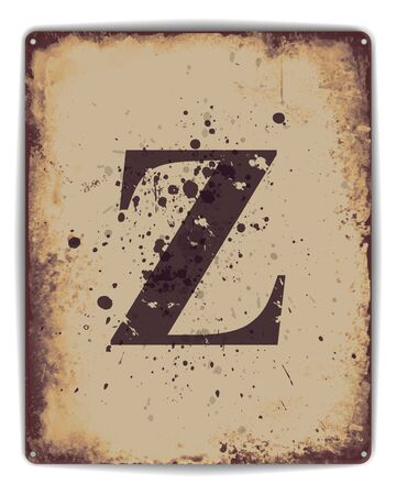 tin: Retro tin plate style poster with capital letter Z monogram. EPS10 vector format