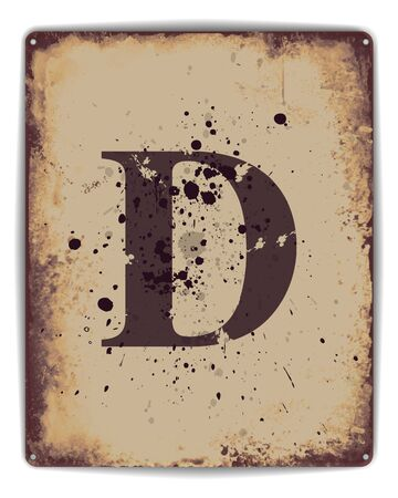 tin: Retro tin plate style poster with capital letter D monogram. EPS10 vector format