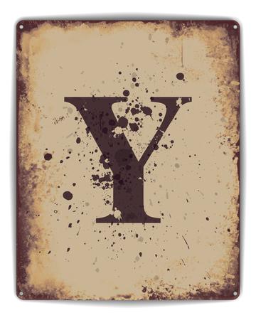 oxidado: Cartel retro del estilo de la placa de lata con letra mayúscula Y monograma. EPS10 formato vectorial