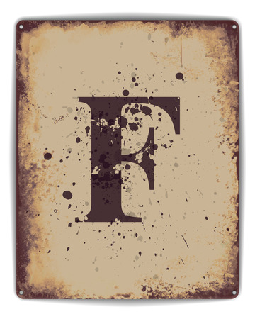 tin: Retro tin plate style poster with capital letter F monogram. EPS10 vector format