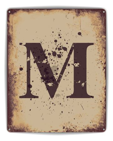 tin: Retro tin plate style poster with capital letter M monogram. EPS10 vector format Illustration