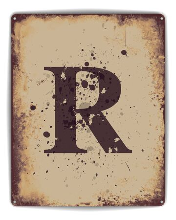 rusty: Retro tin plate style poster with capital letter R monogram. EPS10 vector format Illustration