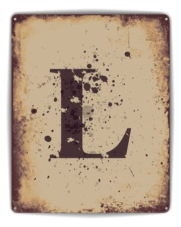 rusty: Retro tin plate style poster with capital letterL monogram. EPS10 vector format