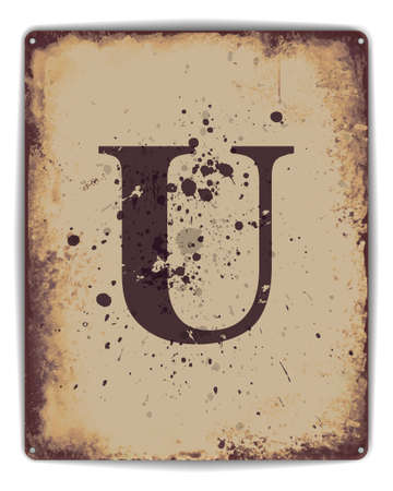 Retro tin plate style poster with capital letter U monogram. EPS10 vector format Ilustração