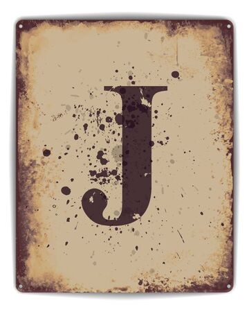 tin: Retro tin plate style poster with capital letter J monogram. EPS10 vector format