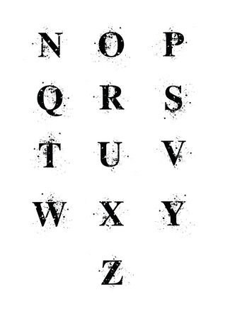 blots: Blot Font letters N to Z. A black serif font with ink splatters. Letters individually grouped for easy removal, or alternate placement, of background ink. EPS10 vector format. Illustration