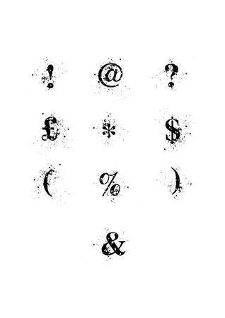 blots: Blot Font Special Charaters set. A black serif font with ink splatters. Individually grouped for easy removal, or alternate placement of background ink. EPS10 vector format.