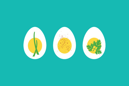 boiled: A trio of hard boiled egg horderves, with chives, paprika and parsley. EPS10 vector format. Illustration