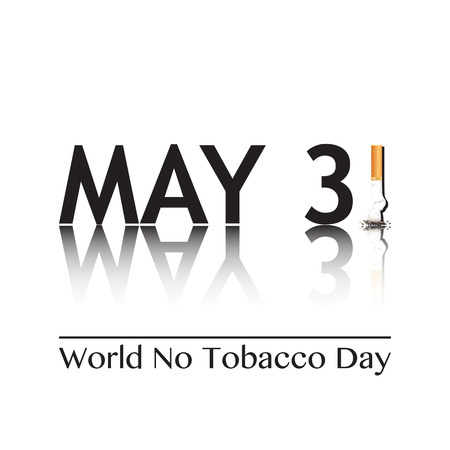 Poster for World No Tobacco Day, May 31st 2016. The 1 in the date has been replaced by a stubbed out cigarette. EPS10 vector format.
