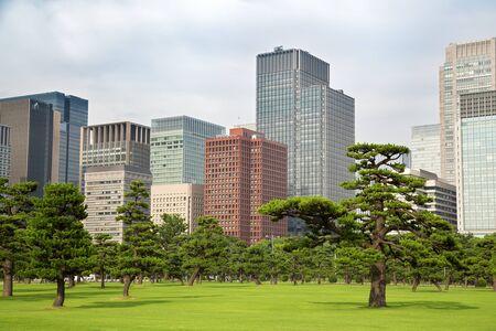 Tokyo skyline as seen from the Gardens, Marunouchi district.