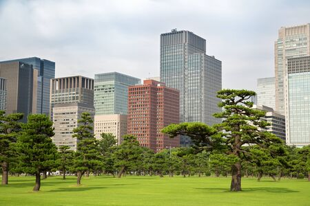 green building: Tokyo skyline as seen from the Gardens, Marunouchi district. Stock Photo