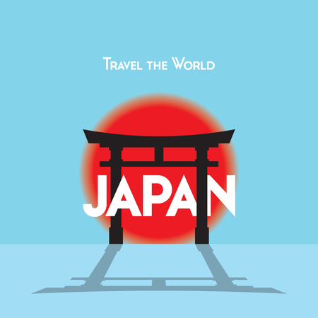 Flat style travel poster on Japanese theme, showing a Torii gate with the setting sun. Illustration