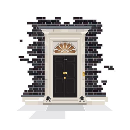 El exterior del número 10 de Downing Street. La residencia pública oficial del Primer Ministro del Reino Unido desde 1735. formato vectorial EPS10. Ilustración de vector
