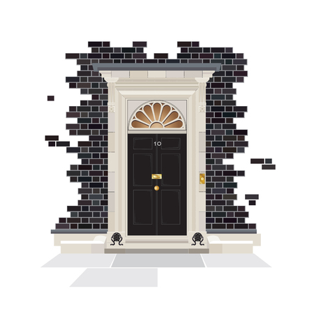 frontage: The exterior of Number 10 Downing Street. The official public residence of the UK Prime Minister since 1735. EPS10 vector format.