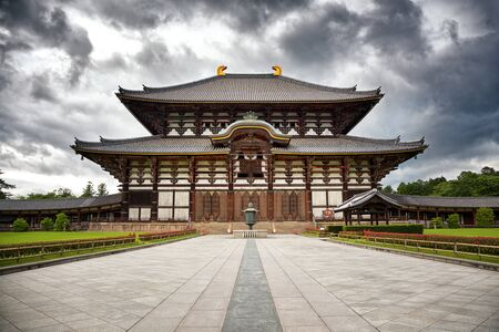 The  Todai-Ji Temple in Nara, Japan, with gathering storm clouds.