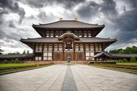 nara park: The  Todai-Ji Temple in Nara, Japan, with gathering storm clouds.