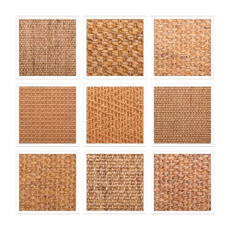 A nine square collage of sisal flooring samples showing a variety of weaves and patterns.