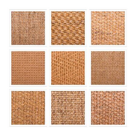 Eine neun quadratische Collage aus Sisalbodenproben, die eine Vielzahl von Geweben und Mustern zeigt.
