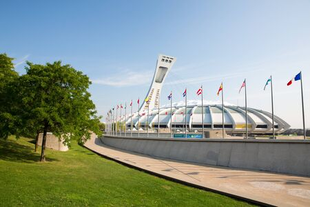 deportes olimpicos: Montreal Canadá - DE SEPT 05: Un panorama cosido del icónico estadio olímpico de Montreal. Montreal fue sede de los Juegos Olímpicos de verano en 1976, los primeros juegos que se celebrarán en Canadá. Editorial