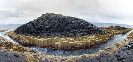 basalt: A panorama of he basalt columns of Staffa Island at Fingal?  cave, Inner Hebrides, Scotland.